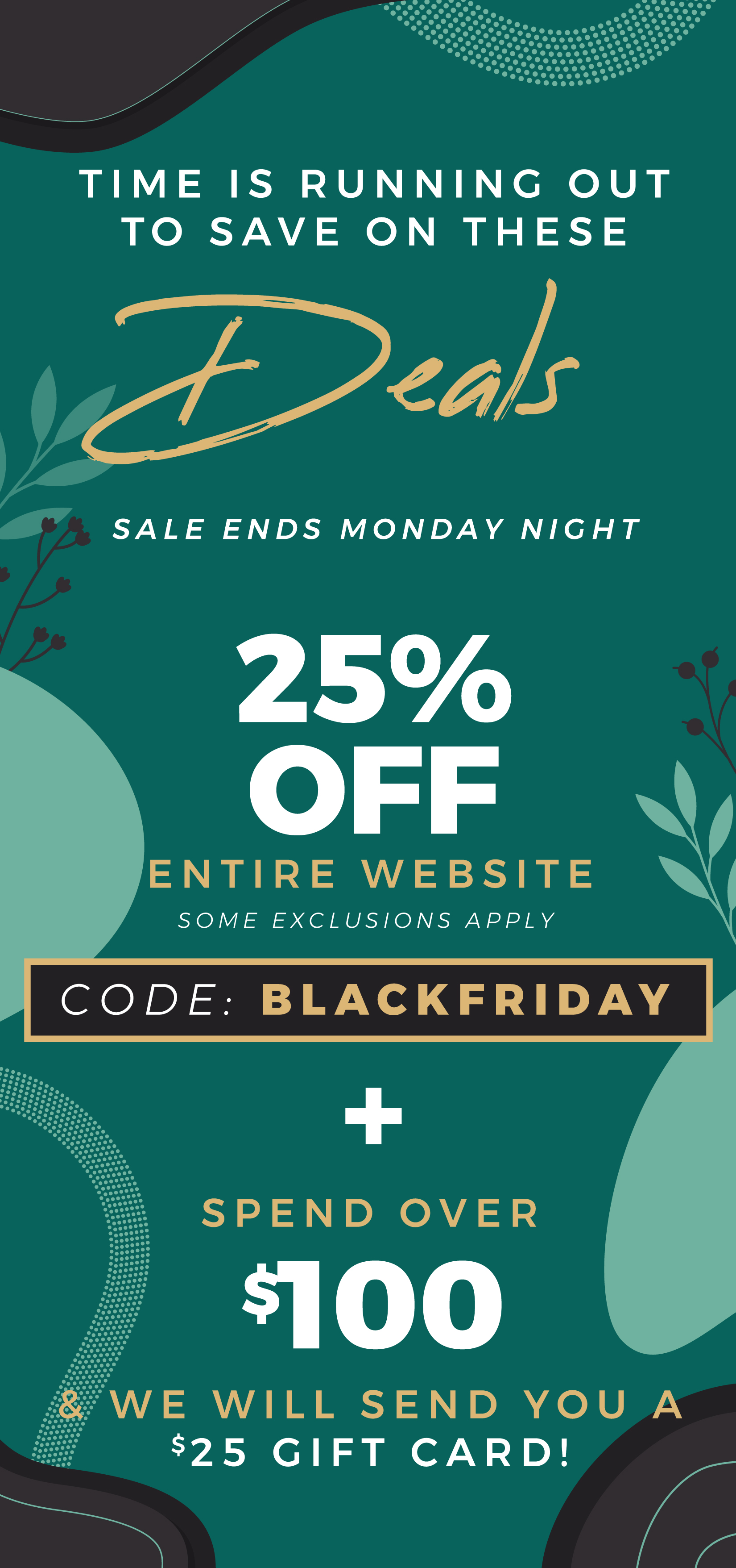 Time is running out to save up to 25% off the entire website + a $25 gift card if you spend over $100!