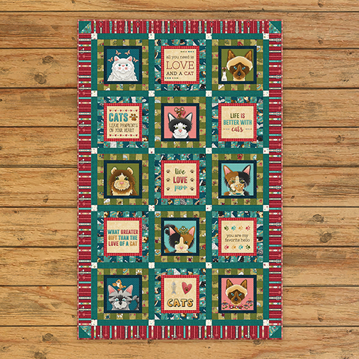 Live Love Meow Block Quilt Kit Ver 1