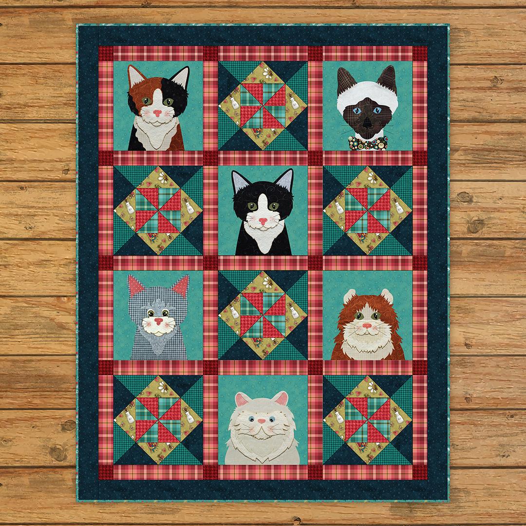 Live Love Meow Applique Quilt Kit